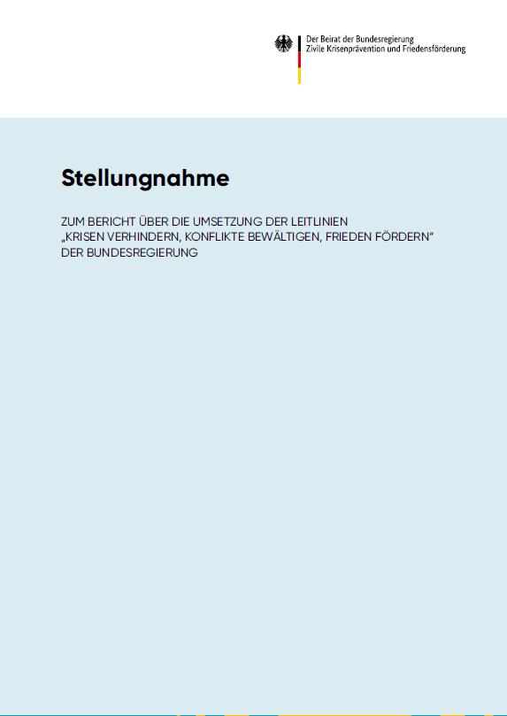 Titelseite Stellungnahme des Umsetzungsberichts der Leitlinien